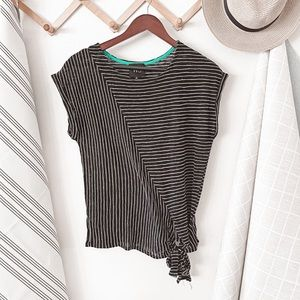 Anthropologie W5 Striped Tie Front Tee